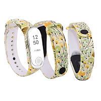 Силиконовый ремешок ЖЕЛТЫЕ ЦВЕТЫ № 11 на фитнес трекер часы Xiaomi mi band 3 / 4 браслет аксессуар замена