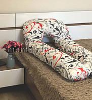 Подушка для беременных U-образная со съемной наволочкой и молнией MamBaby (вензель) белая 120х75 см