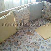 Бортик в кроватку (желто-серый) с совами MamBaby