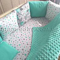 Бортик в кроватку (бирюзовый) сердечки MamBaby 12 подушечек