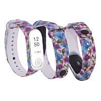 Силиконовый ремешок ФИАЛКИ № 10 на фитнес часы Xiaomi mi band 3 / 4 браслет аксессуар замена
