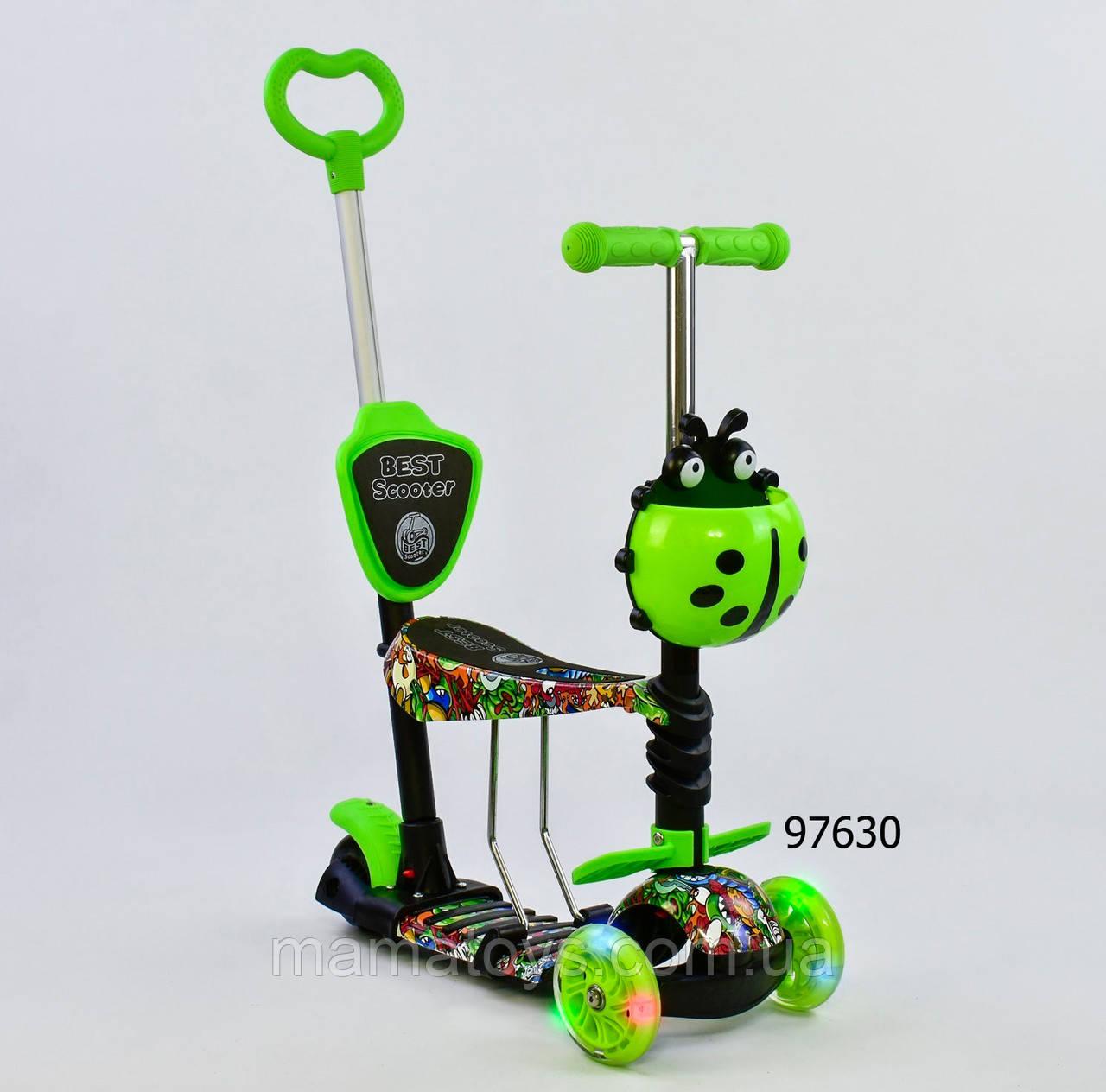 Детский Самокат 97630 беговел Best Scooter Салатовый 5 в 1 Родительская ручка, Свет колес