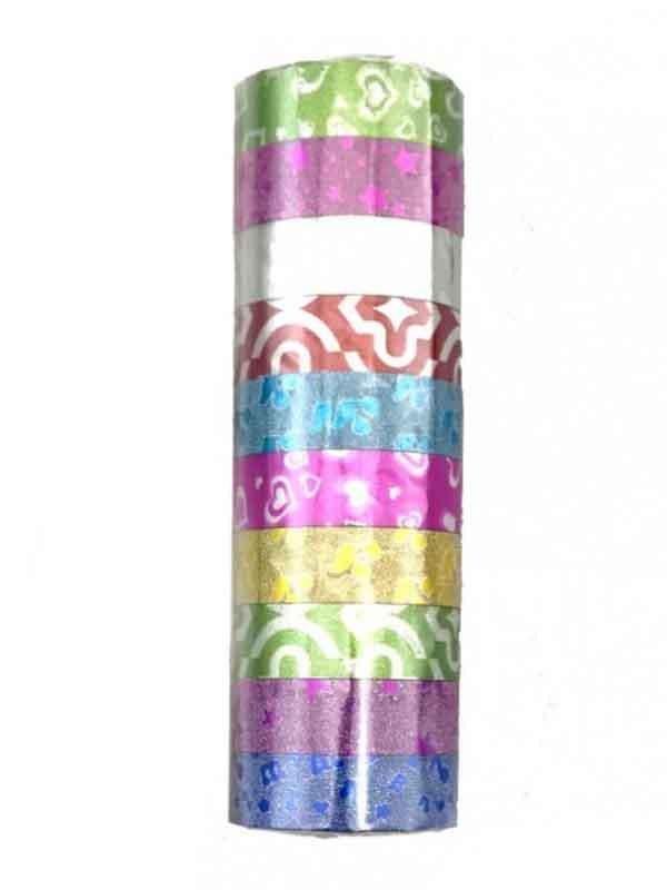 Скотч декоративный цветной 3568 с напылением 10шт