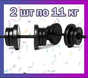 Комплект гантелей 2 шт по 11 кг наборные композитные для спорта и фитнеса