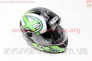 Шлем закрытый HF-122 S- ЧЕРНЫЙ глянец с бело-зеленым рисунком Q100G