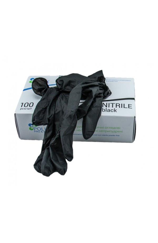 Перчатки нитриловые неопудренные черные XL (100шт/уп)