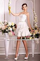 """Короткое свадебное платье из шифона с поясом из бисера """"Музыка сердца"""""""