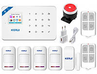 Комплект бездротової gsm WiFi сигналізації для 3-кімнатної квартири Kerui W18, фото 1