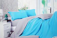 """Стильный комплект постельного белья евро размер """"Blue sky"""". Постельное белье голубое с серым евро сатин"""