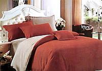 """Однотонный комплект постельного белья евро размер """"Ада"""". Постельное белье евро сатин двухцветное"""