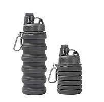 Бутылка силиконовая складная спортивная для воды и напитков 500 мл черный