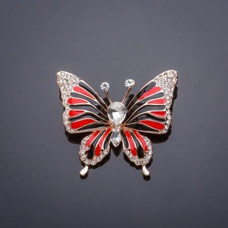 Купить Брошь Бабочка красное и черное 33х39мм