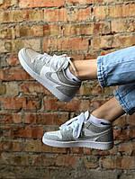 Женские кроссовки Nike Air Jordan 1 Low, белые, светоотражающие, Найк ДжорДан, код FL-3148