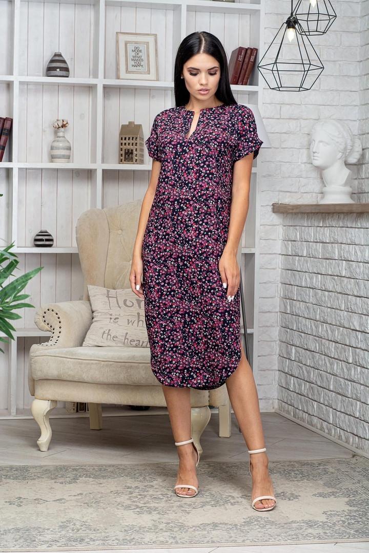 Платье летнее приталенное средней длины розов. цветы на черном