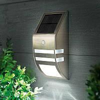 Настенный уличный светильник на солнечной батарее с датчиком движения (Металлический) Silver