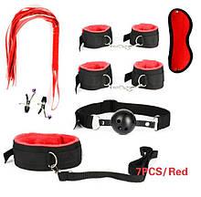 Универсальный набор BDSM для интимных игр красного цвета бдсм садо мазо