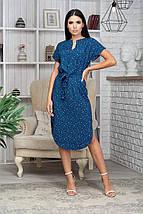 Платье летнее приталенное средней длины цветы на бледо-зел, фото 2