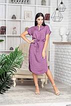 Платье летнее приталенное средней длины цветы на бледо-зел, фото 3