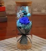 Роза в колбе с LED БОЛЬШАЯ СИНЯЯ | Вечная роза с подсветкой