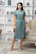 Платье летнее приталенное средней длины красн цв. на коричн, фото 3