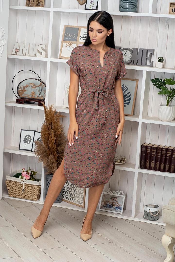 Платье летнее приталенное средней длины красн цв. на коричн