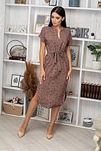 Платье летнее свободное средней длины зеленые цветы на сиреневом, фото 3