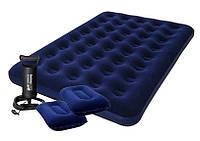 Надувной матрас Flocked Air Bed With Air Pump (Queen) 203х152х22 см с ручным насосом и 2 подушками