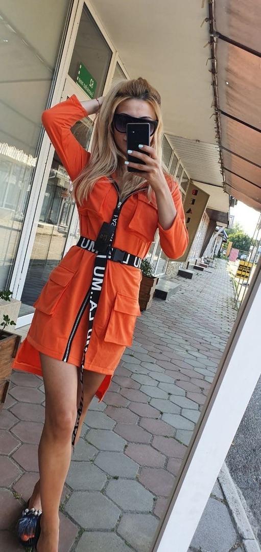 Женское оранжевое платье в спортивном стиле с капюшоном размеры 42-48