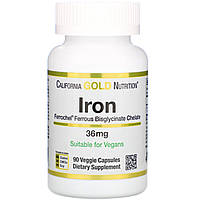 Феррохел железа, Iron California Gold Nutrition, 36 мг, 90 вегетарианских капсул
