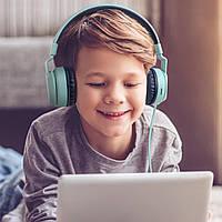 Детские беспроводные Bluetooth наушники Bobo Wireless Fingertime бирюзового цвета