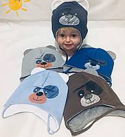 Трикотажная шапка для мальчика 50рр Мишка  5460