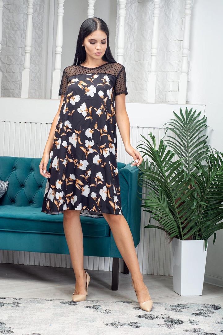 Платье летнее выше колена с сеткой в верхней части приталенное миди черное