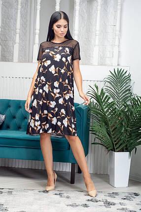 Платье летнее выше колена с сеткой в верхней части приталенное миди черное, фото 2
