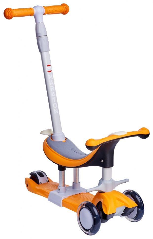 Самокат беговел Scooter Smart Maxi 5в1 с родительской ручкой Оранжевый