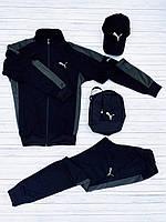Спортивный костюм Puma XTR мужской осенний весенний (Пума) демисезонный черный-хаки / ЛЮКС