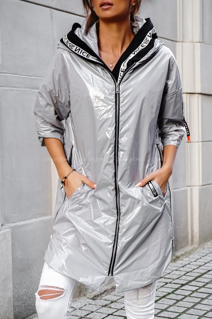 Женская куртка батал, плащевка Moncler, р-р 50-52 (серебряный)