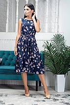 Платье женское летнее с поясом без рукавов длина миди разноцветные цветы, фото 2