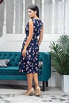 Платье женское летнее с поясом без рукавов длина миди разноцветные цветы, фото 3