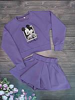 Стильный детский комплект свитшот+шорты-юбка на рост 128-152