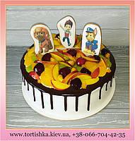 Торт с фруктами и пряничными топперами. Торт Щенячий патруль