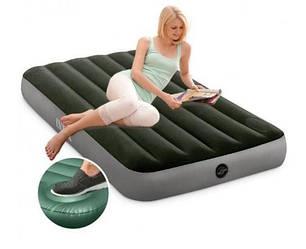 Одноместный надувной матрас INTEX 99x191x25 см со встроенным ножным насосом, надувний матрац  з насосом ИНТЕКС
