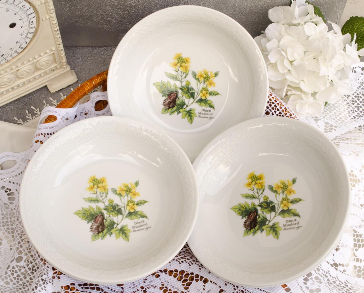Шесть фарфоровых суповых тарелок, Royal Worcester, HERBS, Black Mustard Англия, винтаж