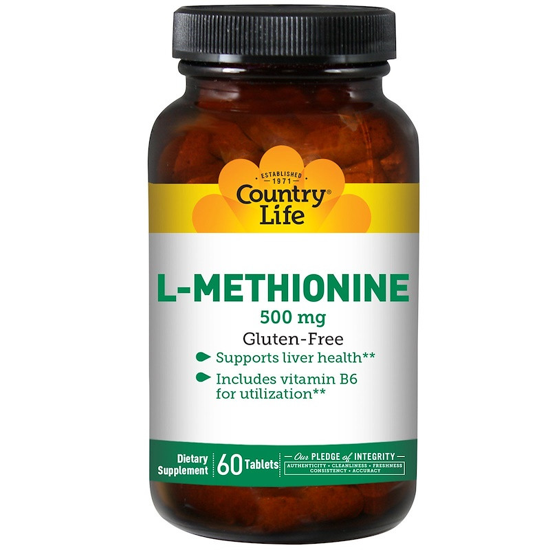 L-Метионин, L-Methionine Country Life, 500 мг, 60 таблеток