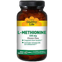 L-Метионин, L-Methionine Country Life, 500 мг, 60 таблеток