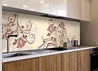 Кухонный фартук виниловый Абстрактные завитки растительный (ПВХ наклейка пленка для кухни) бежевый 600*2500 мм