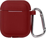 Кейс TOTO Plain Cover With Stripe Style Case AirPods Wine Red 101761, КОД: 1309846