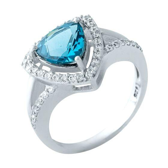 Серебряное кольцо DreamJewelry с натуральным топазом Лондон Блю (1963388) 18 размер