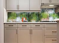 Кухонный фартук Вода Дождь на стекле виниловый (ПВХ наклейка пленка скинали для кухни) зеленый 600*2500 мм