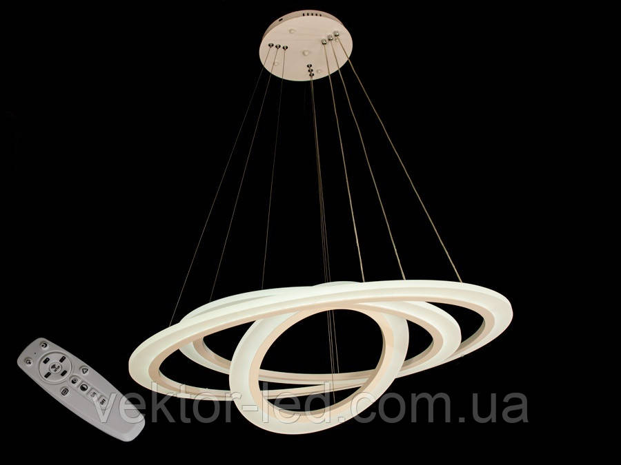 Люстра светодиодная 1031/400+600+800 Wh/Bk/Cf 150w dimmer