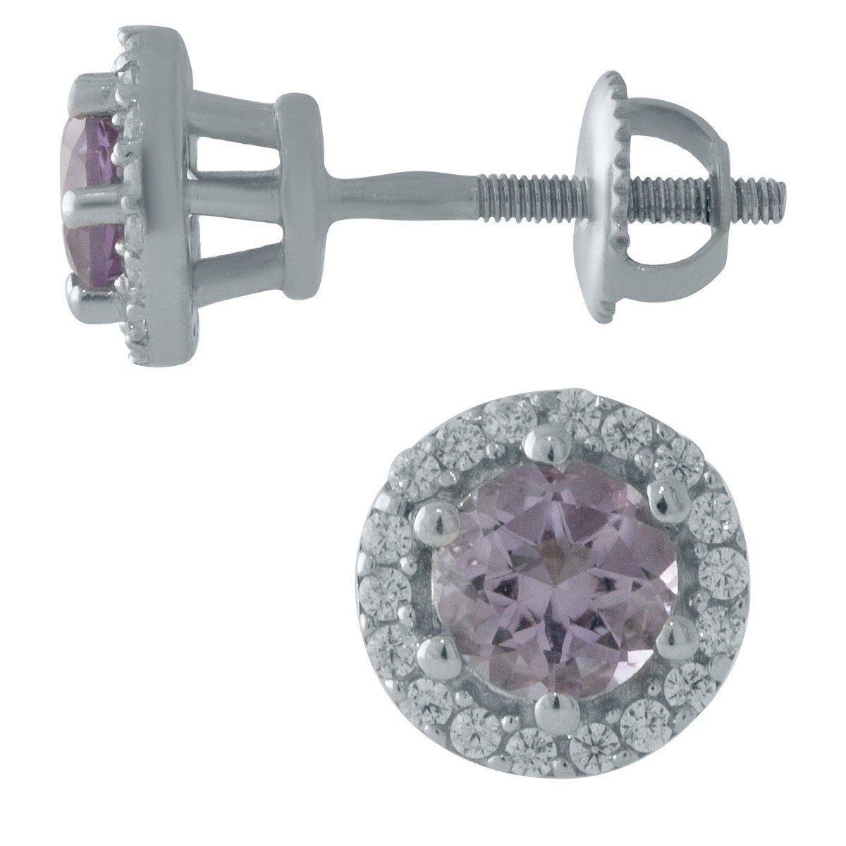 Серебряные серьги DreamJewelry с натуральным аметистом 1ct (1998755)